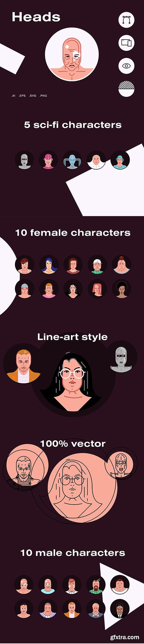 Vector Illustrations  - Heads Avatars