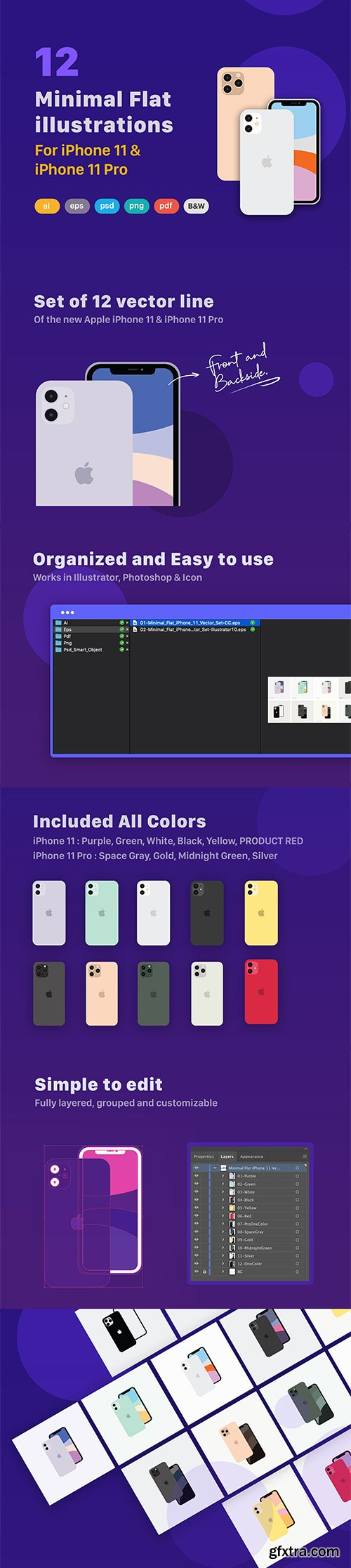 Minimal Flat iPhone 11 & 11 Pro Vector Set
