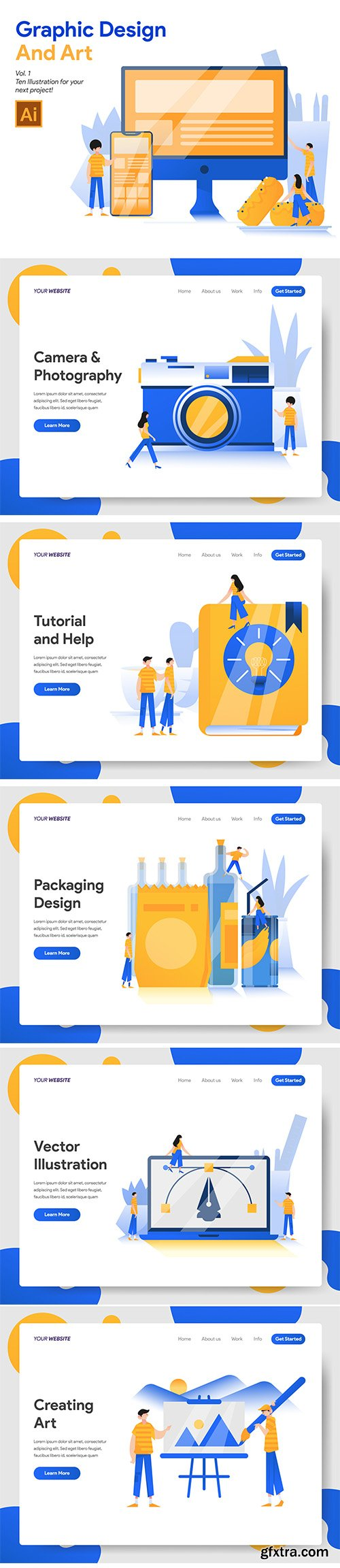 Vector Illustrations Set - Graphic Design and Art Vol 1