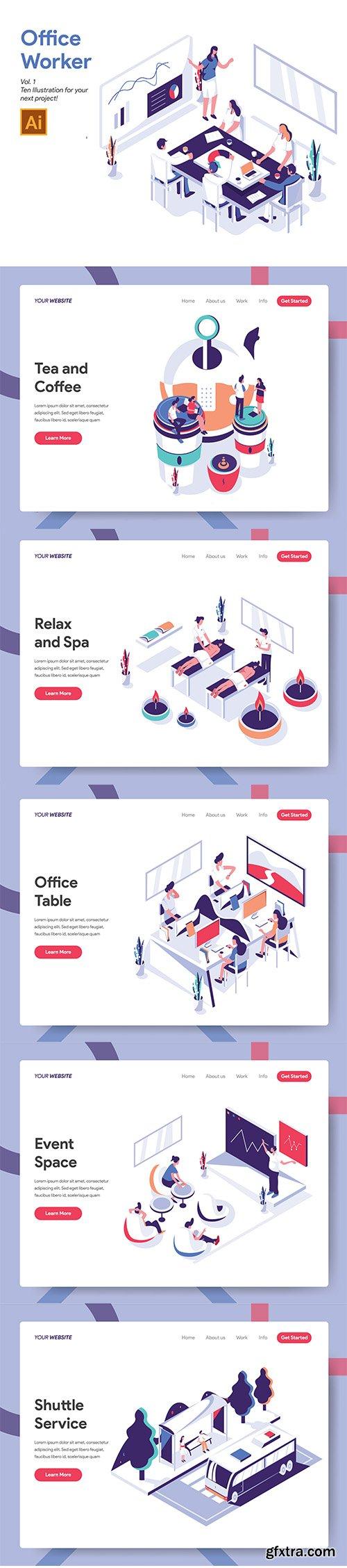 Vector Illustrations Set - Office Worker Illustration Vol 1