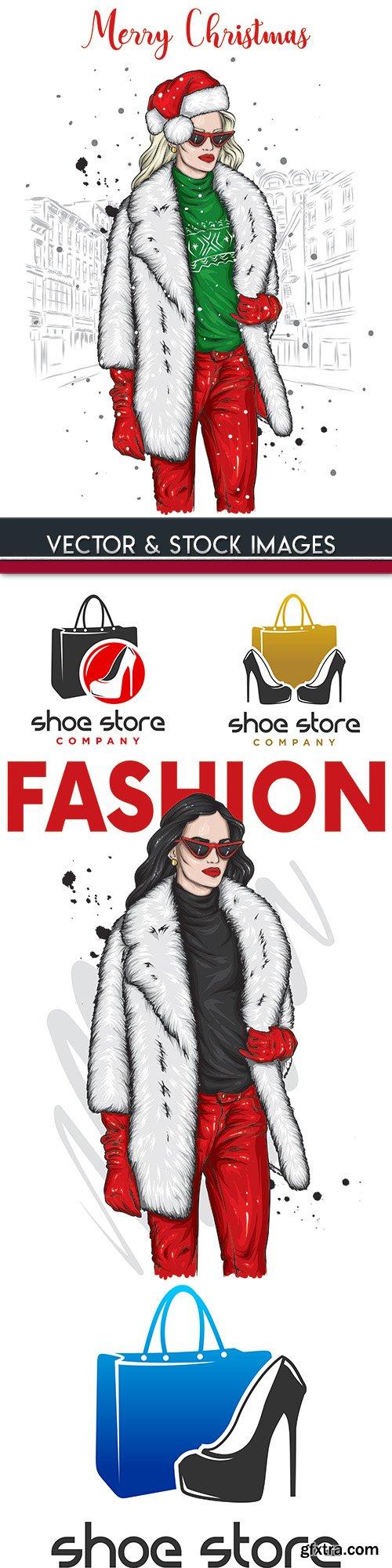 Fashion stylish girls and logo design illustration