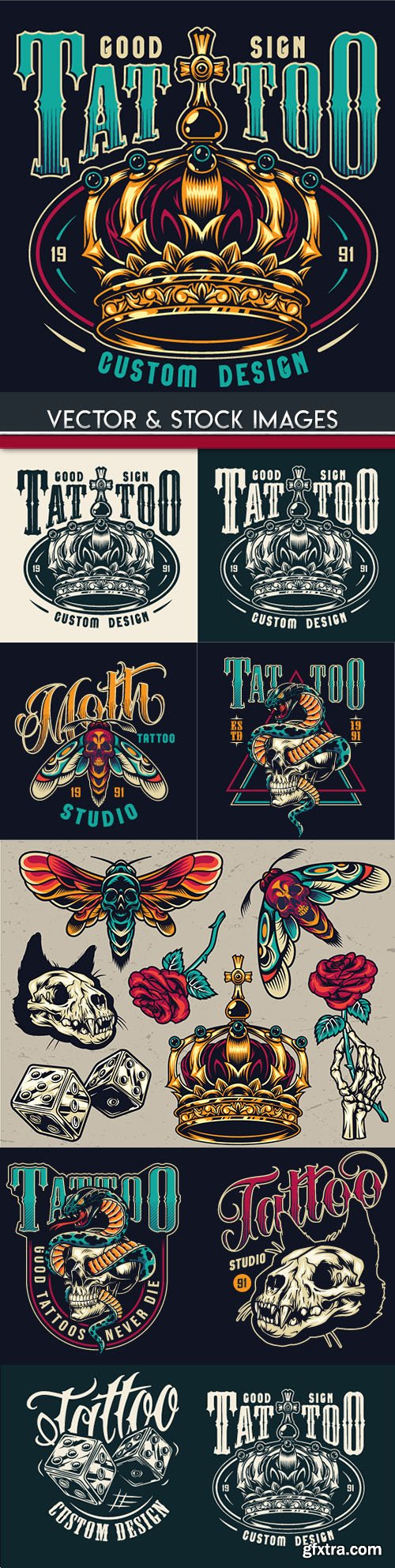 Tattoo design skull and accessories grunge label