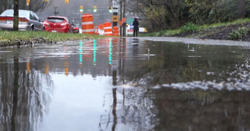 Rain - 20 - Street Cars, Sidewalk, Puddle, Man - 7KNQALX
