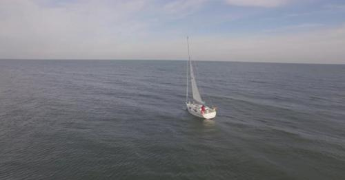 Aerial Over Yacht Boat - KCBR6VQ