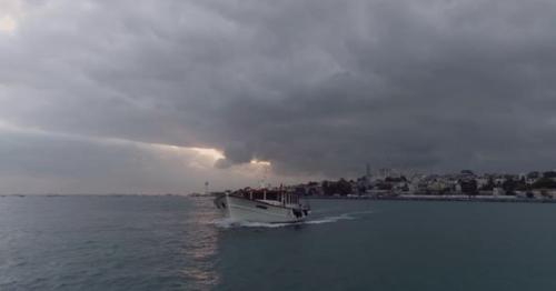 Boat Sailing Bosphorus Aerial View 3 - AD5QX4F