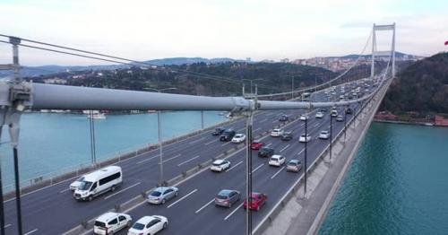 Istanbul Bosphorus Bridge And Traffic Side Aerial View - QX6JBZ5