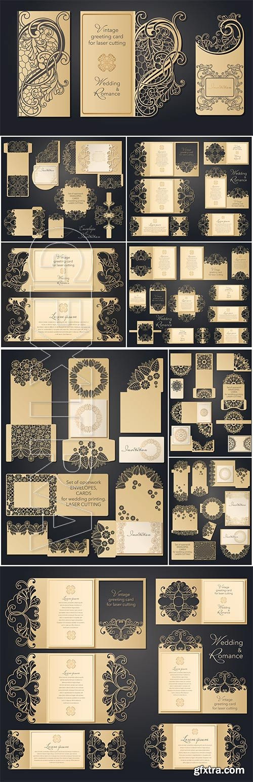 Laser cut wedding invitation template with lace pattern in vintage style