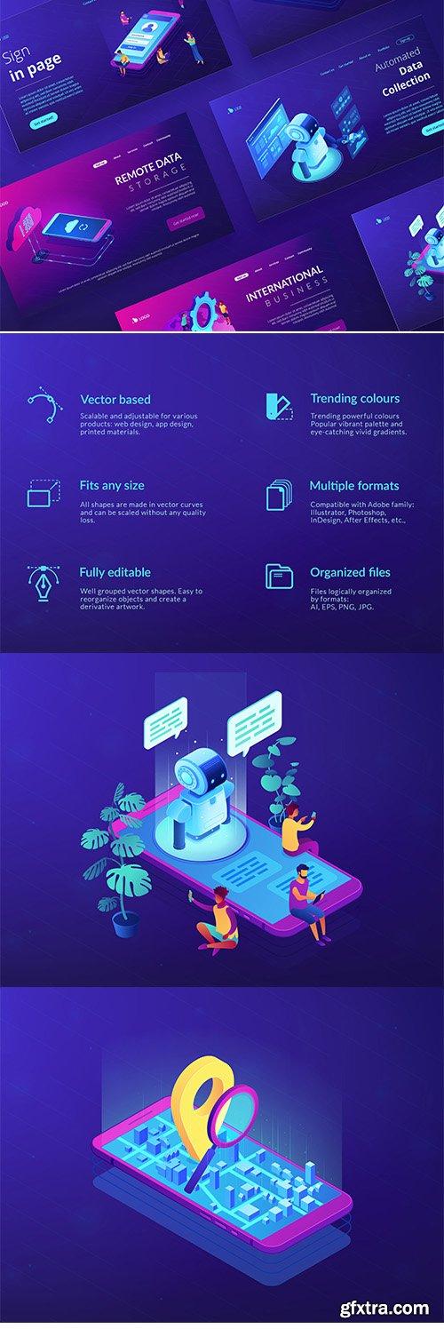Technology Isometric UV concept illustrations