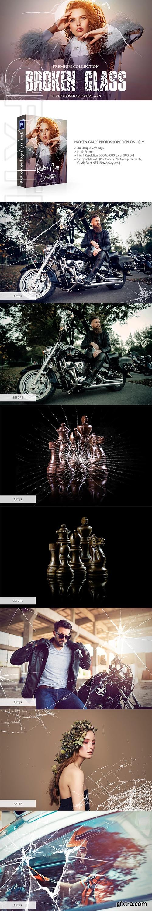 CreativeMarket - Broken Glass Photoshop Overlays 4147752