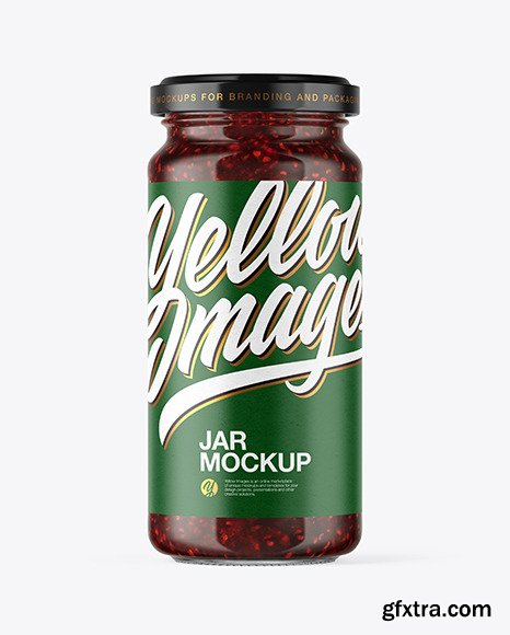Clear Glass Raspberry Jam Jar Mockup 50319