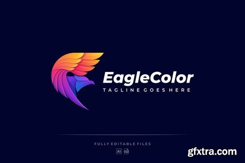 Abstract Flying Eagle Colorful Logo Template