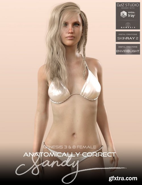 Daz3D - Anatomically Correct: Sandy for Genesis 3 and Genesis 8 Female