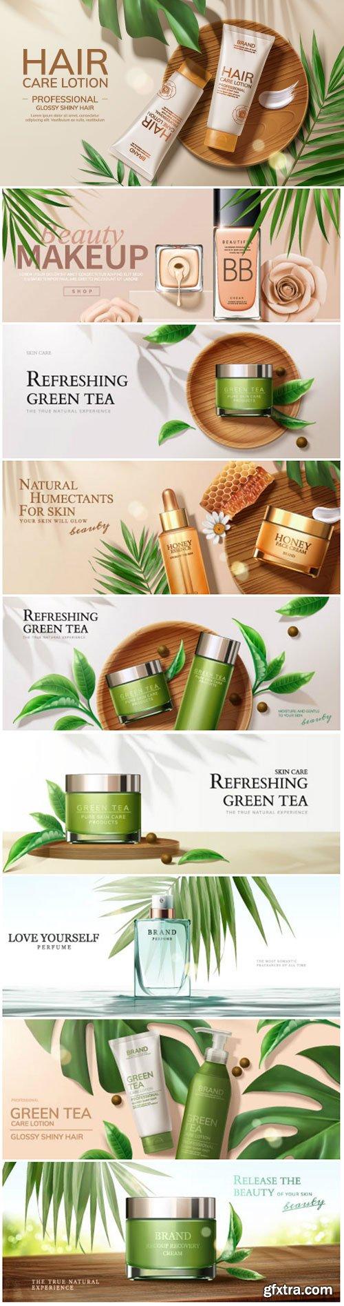 Skin care set ads vector illustration template # 2