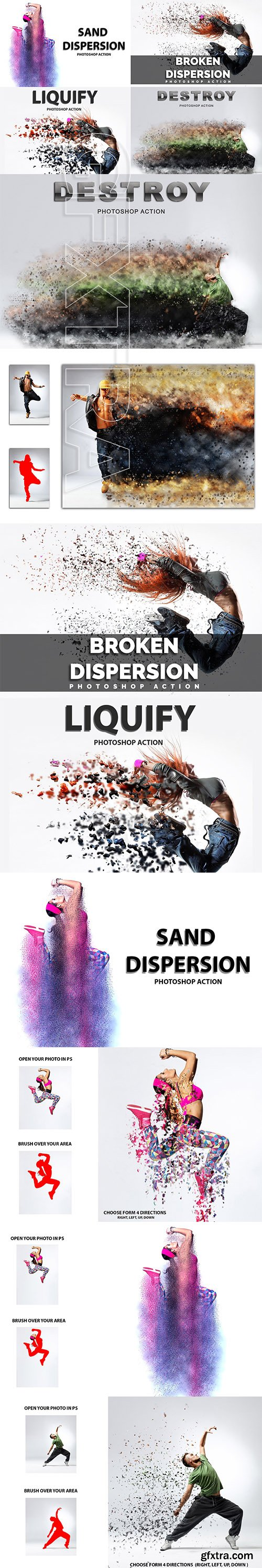 CreativeMarket - 4 in 1 Dispersion Photoshop Actions 4228603