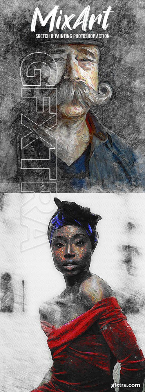 GraphicRiver - Mix Art - Sketch & Painting Photoshop Action 24802808