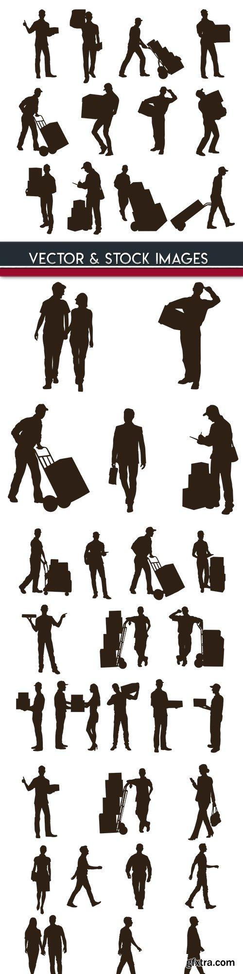 Men and women lifestyle design silhouettes