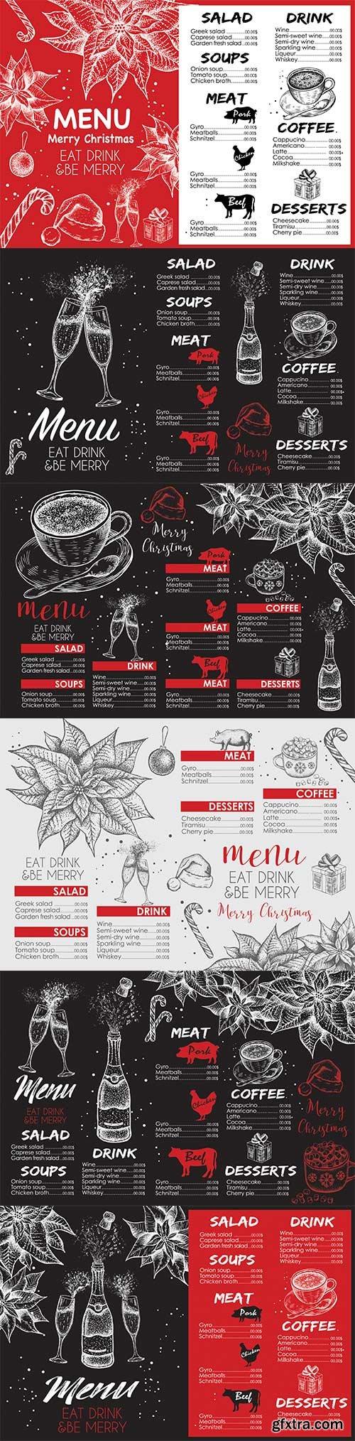 Merry Christmas menu, design vector template