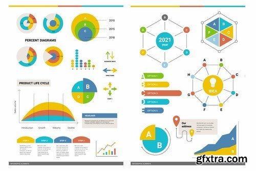 Set of 50 business infographic elements