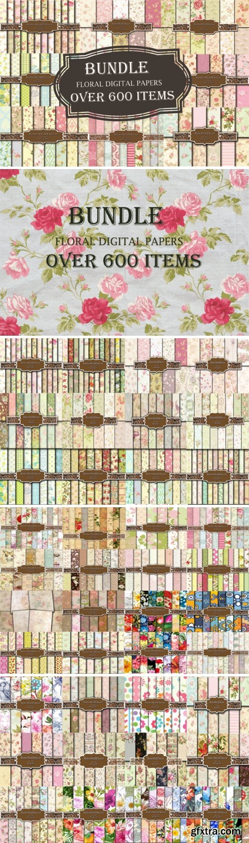 Floral Papers Bundle, over 600 Papers
