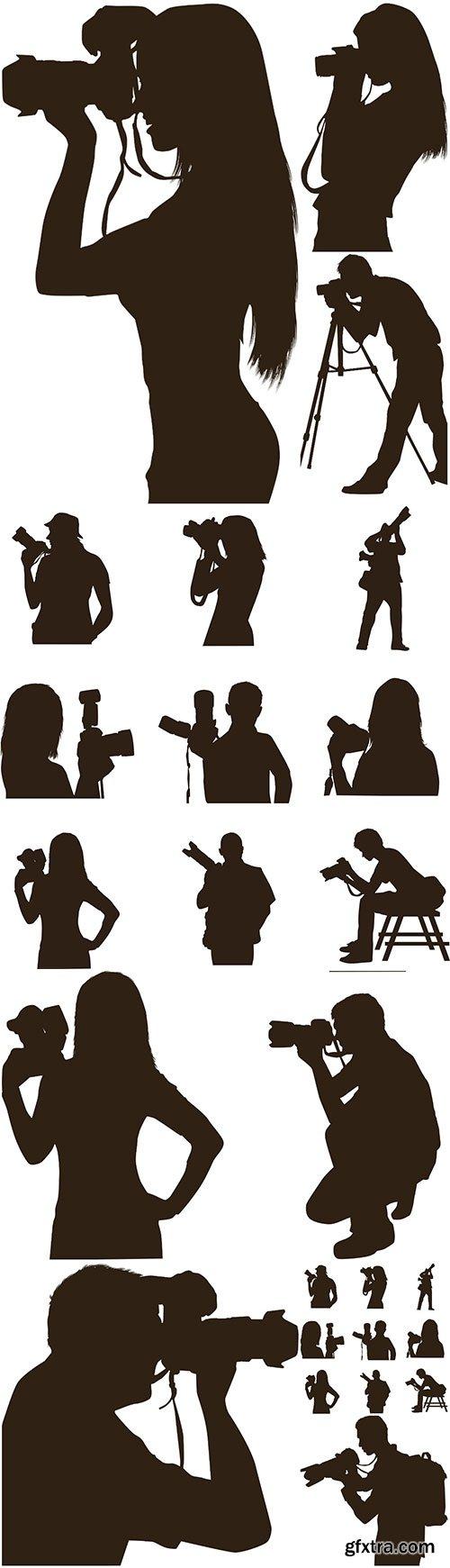 Photographer silhouette vector illustration