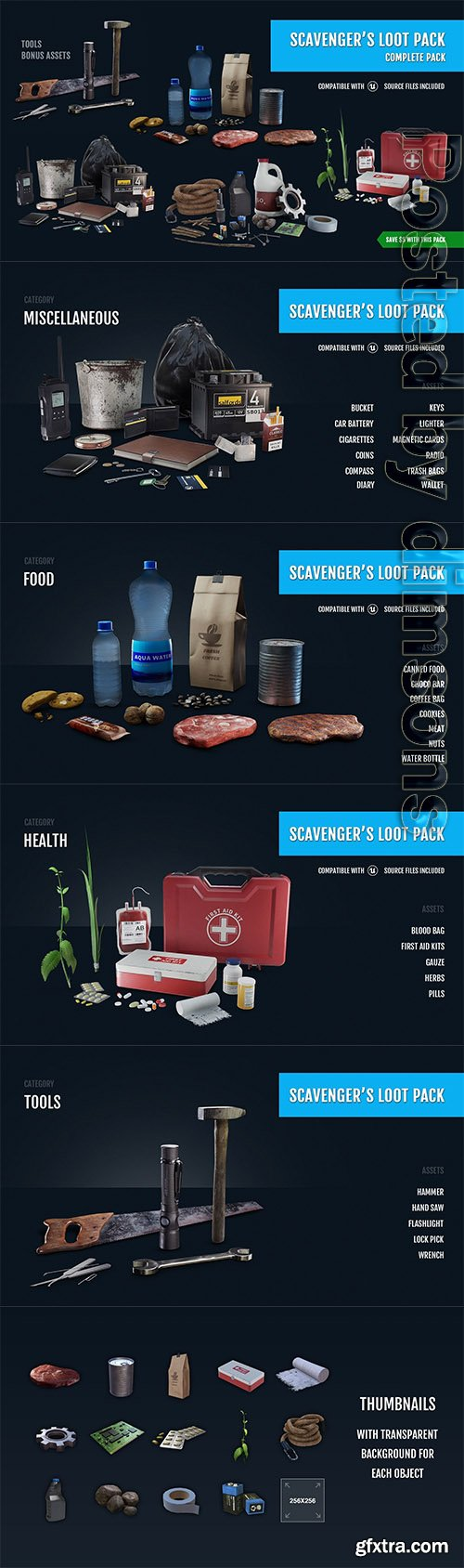 Cgtrader - Scavengers Loot Pack - Complete Pack Low-poly 3D model