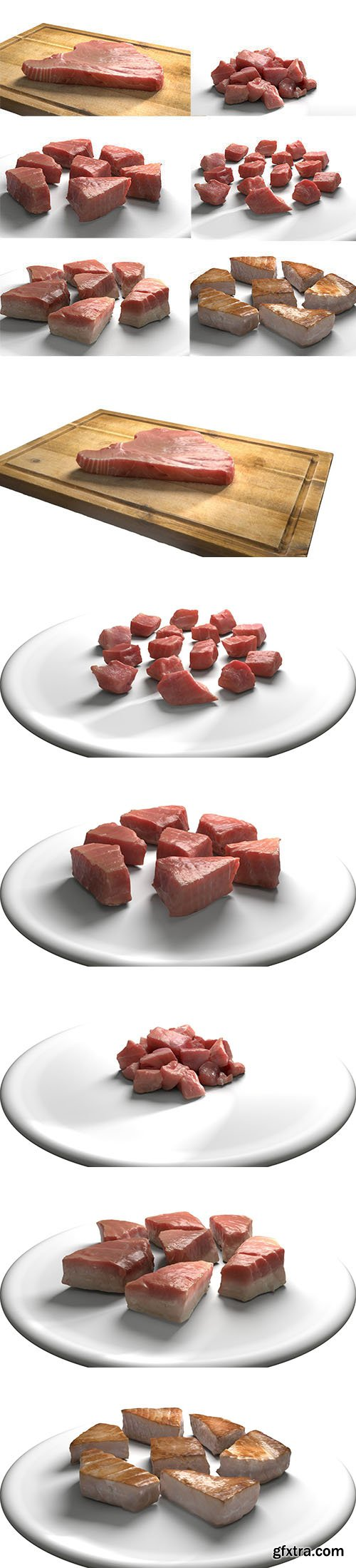 Cgtrader - Tuna Meat Pack - Steak Raw Cooked Chopped Low-poly 3D model