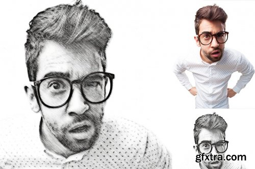 CreativeMarket - Pencil Sketch Portrait PS Action 3754742