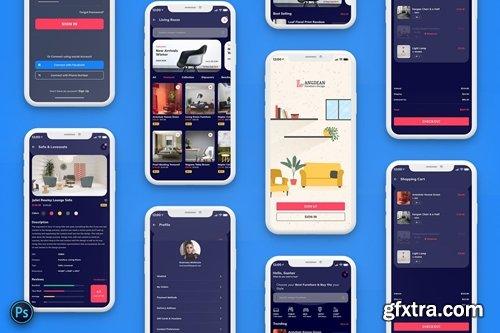 Furniture Mobile App UI Kit Dark Version