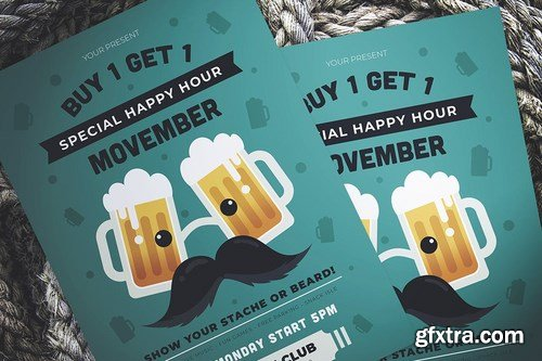 Movember Happy Hour Flyer
