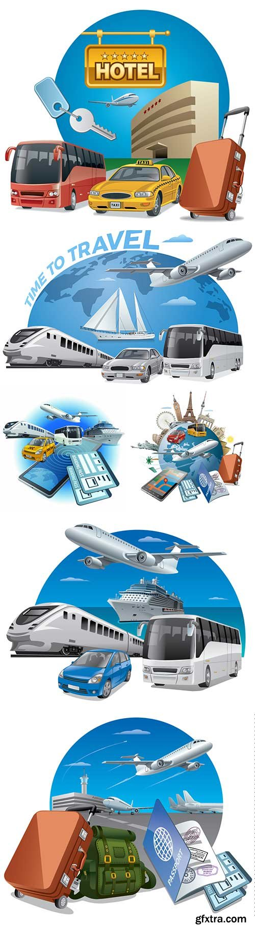 Transports for travel vector illustration