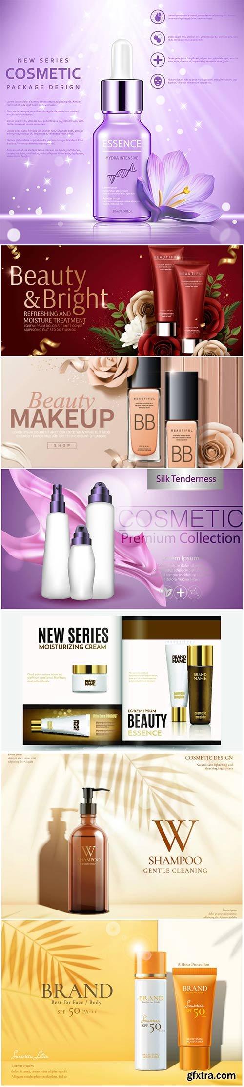 Skin care vector set ads