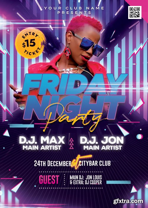 Friday Night Party - Premium flyer psd template