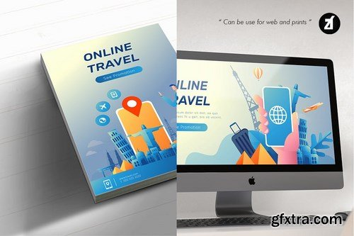 Travel agency illustration with text layout