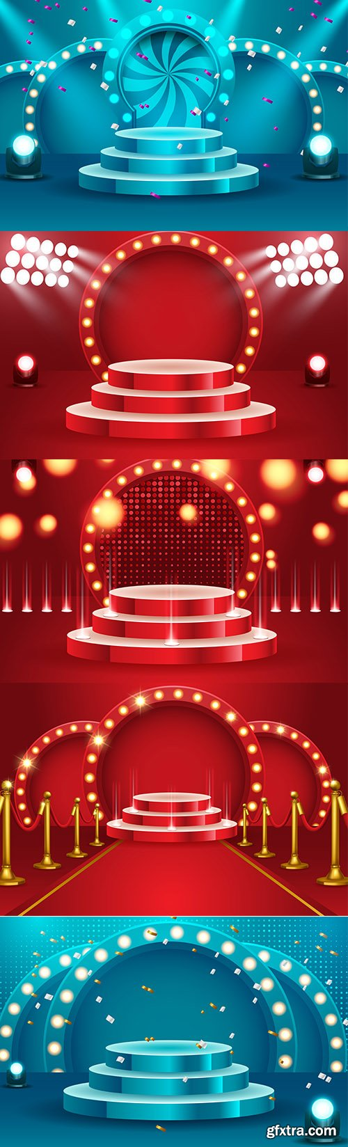 Set of Abstract Round Podium Backgrounds