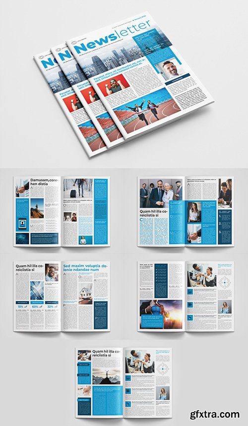 Business Newsletter Layout with Blue Accents 300386298