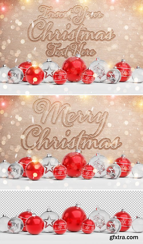 Wooden Text Effect with Christmas Decorations 300470636