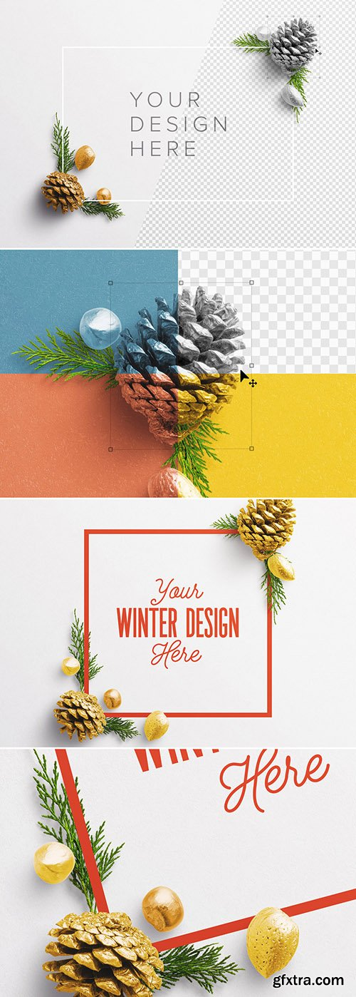 Winter Frame with Natural Elements Scene Creator Mockup 299792603