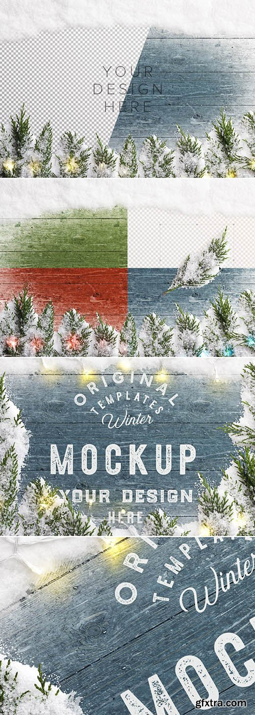 Winter Mockup Scene with Snow, Fir Tree Branches, and Lights 299794289