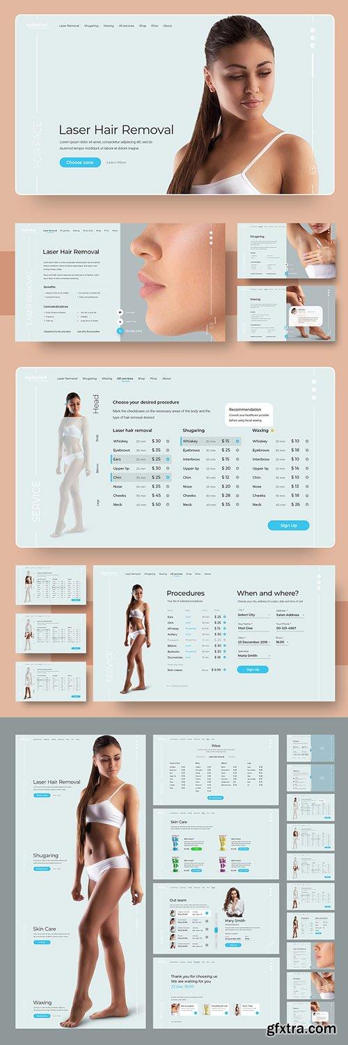 Spa and Beauty Website and User Interface Layout 300992320