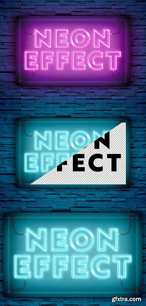 Neon Light Text Effect on Brick Wall Mockup 300467951