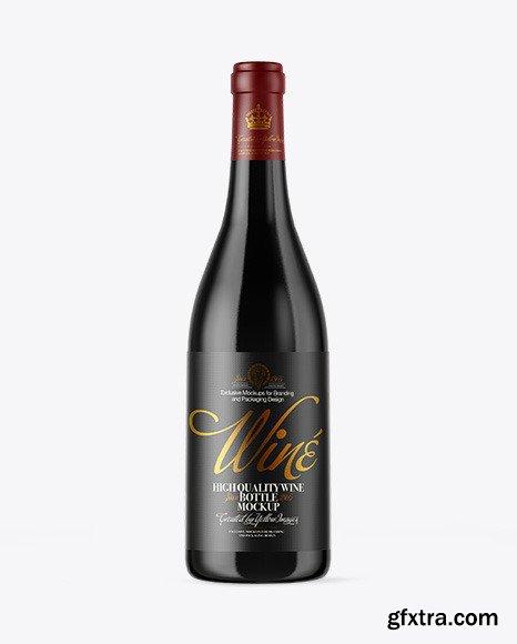 Dark Glass Wine Bottle Mockup 51047
