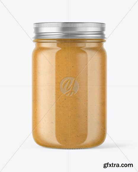 Clear Glass Jar with Peanut Butter Mockup 51044