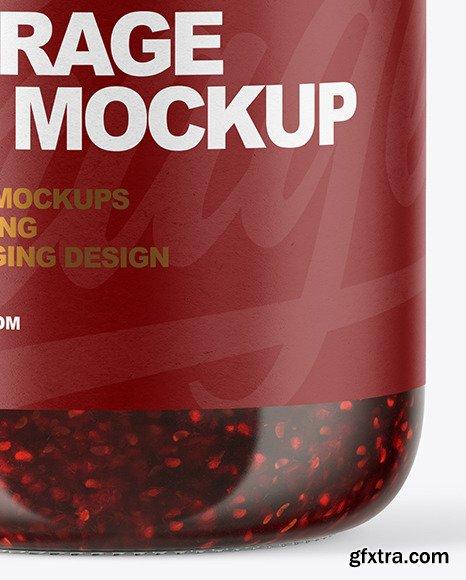 Clear Glass Jar with Raspberry Jam Mockup 51042