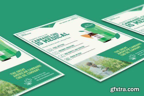 Cannabis Hemp Oil Products Flyer PSD Template