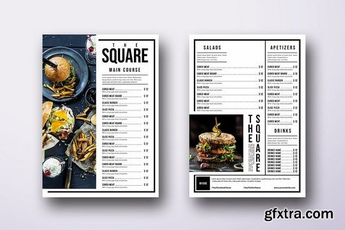 Minimal Single Page A4 & US Letter Menu Bundle