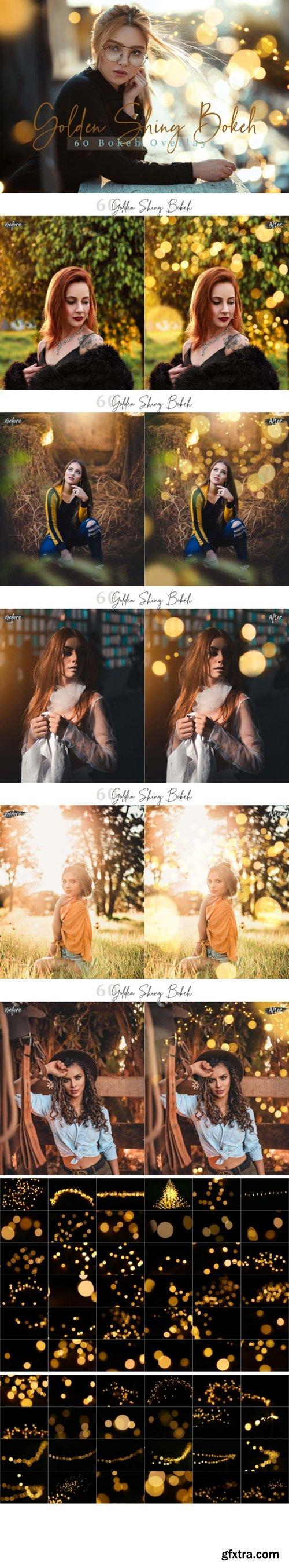 60 Golden Shiny Bokeh Lights Overlays 1996782