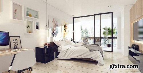 Modern Bedroom Interior Scene 30
