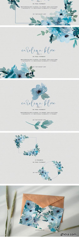 Pastel Blue Watercolor Flower Clipart 1996632