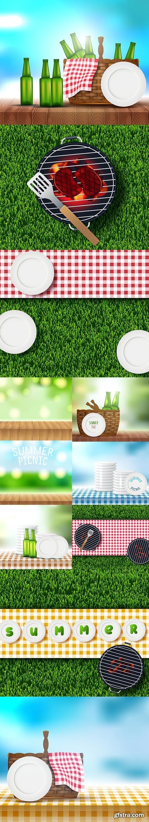 Set of Summer Picnic Design Backgrounds