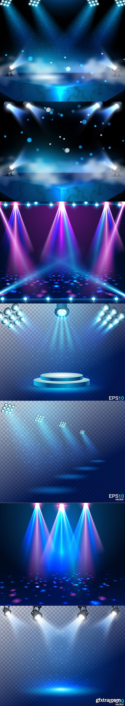 Set of Spotlight with Shiny Light Particles